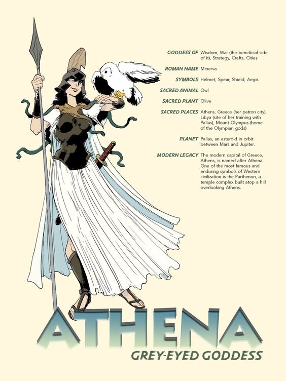 Athena (Minerva) - The goddess of wisdom, warfare, battle strategy, heroic endeavour, handicrafts and reason. According to most traditions, she was born from Zeus's head fully formed and armored. She was depicted crowned with a crested helm, armed with shield and a spear. Her symbol is the olive tree. She is commonly shown accompanied by her sacred animal, the owl.