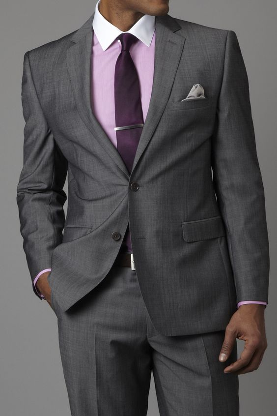Dark Grey Suit with splash of purple. A 6FigureJobs color favorite