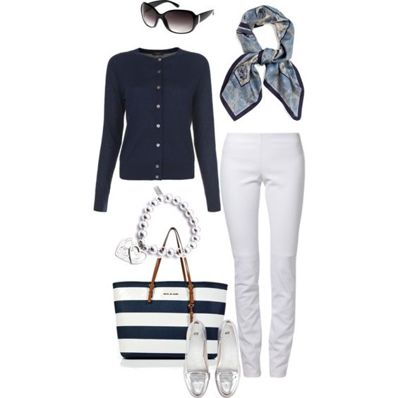 One can just never go wrong with navy and white. It's crisp and fresh. I want to reach into that picture and grab that MICHAEL Michael Kors bag. Fab, fab, fab.