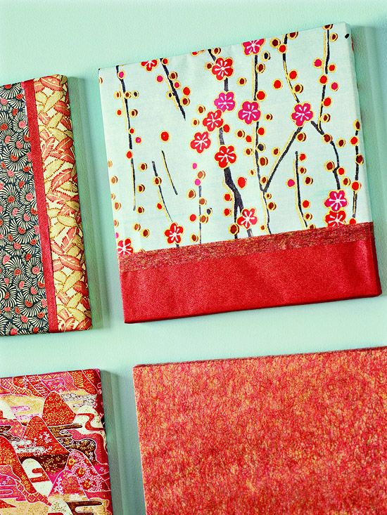 wrap a canvas with paper and ribbon for a nice wall decoration