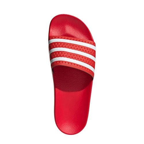 adidas Originals Adilette Lite badslippers rood/wit in 2020 ...
