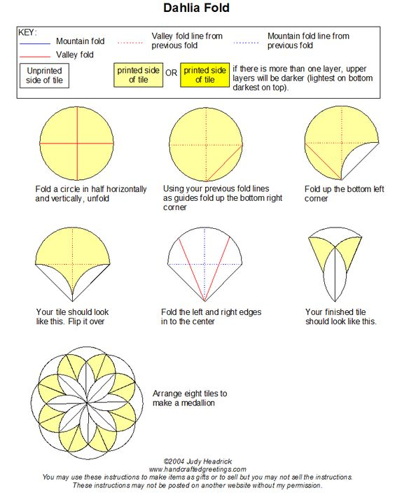 Instructions for the dahlia tea bag fold. Use with scrapbook paper or origami papers to make nice cards.