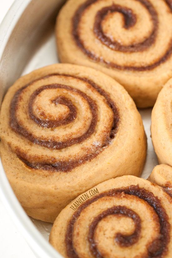 These pumpkin cinnamon buns are made a little healthier with whole grains and can be topped with either caramel sauce or maple cream cheese frosting!