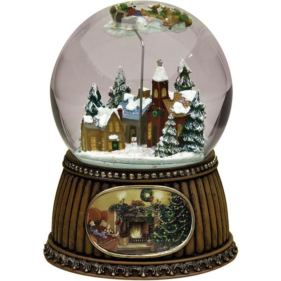 Roman Rotating Village Snow Globe ($88) ❤ liked on Polyvore featuring home, home decor, holiday decorations and santa snow globe