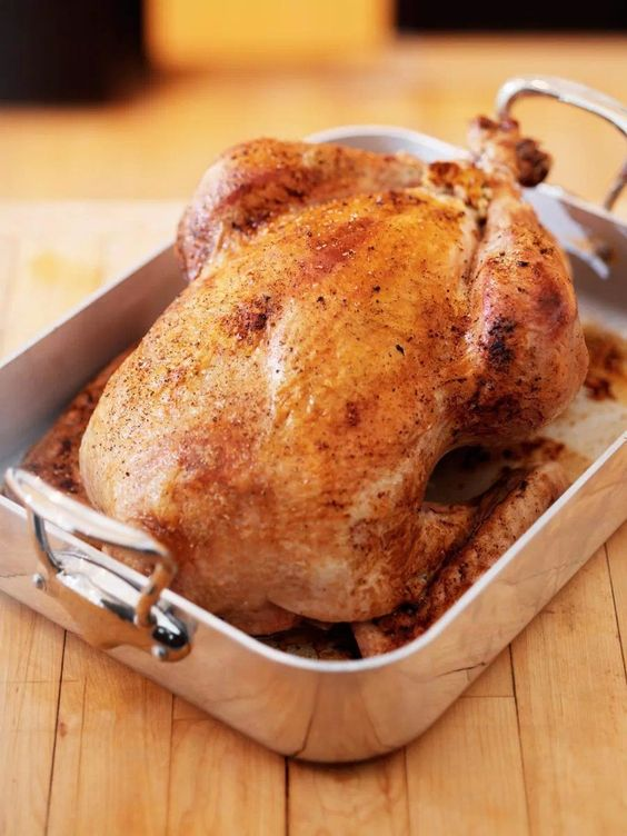 Credit: Jill Chen/Stocksy Simple Roasted Turkey Serves 9 9 pound turkey, raw 10 quarts brine (recipe below) Place the turkey in 20-quart container. Pour the cold brining liquid over the turkey and let turkey brine for 10 hours. When it has brined 10 hours, remove from the liquid and place on a tray to