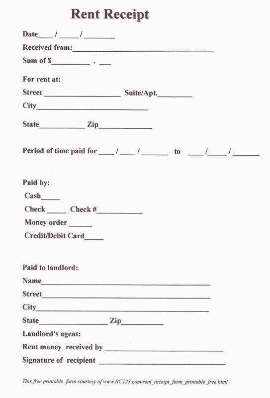 Printable Rent Receipt Free Receipt Template Receipt Template