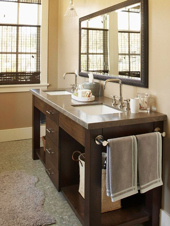 Vanities towels and towel rod on pinterest for Bathroom cabinets for towels