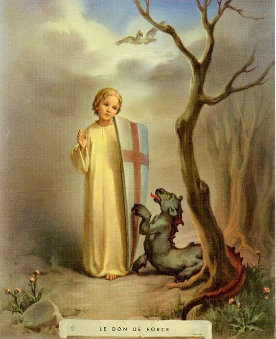 """FORTALEZA """"Fuerza sobrenatural que sostiene la virtud moral de la fortaleza. Para obrar valerosamente lo que Dios quiere de nosotros, y sobrellevar las contrariedades de la vida. Para resistir las instigaciones"""