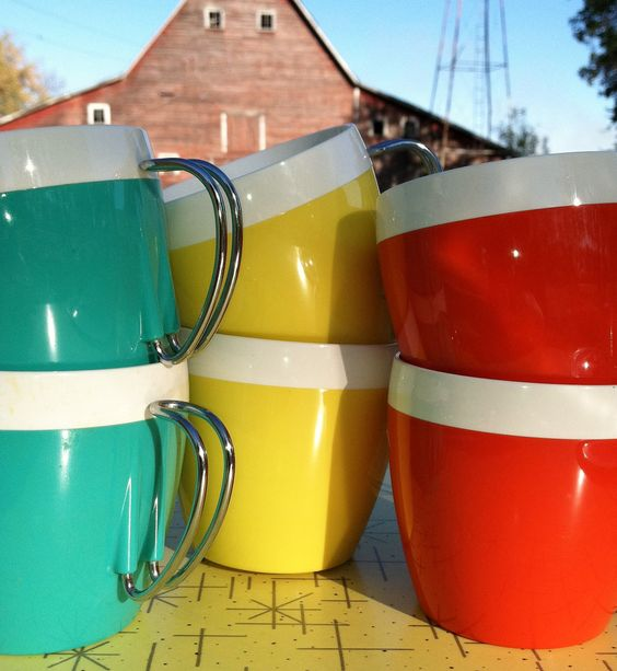 Vintage Insulated NFC Mugs, Set of 6. $15.00, via Etsy.