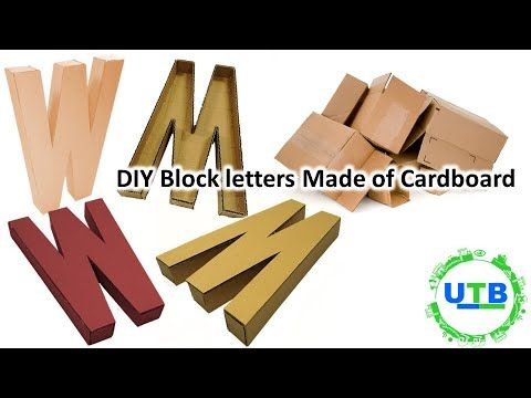Diy Block Letters Made Out Of Cardboard How To Make 3d Letters Out Of Cardboard Youtube With Images Block Lettering Diy Blocks Cardboard Letters