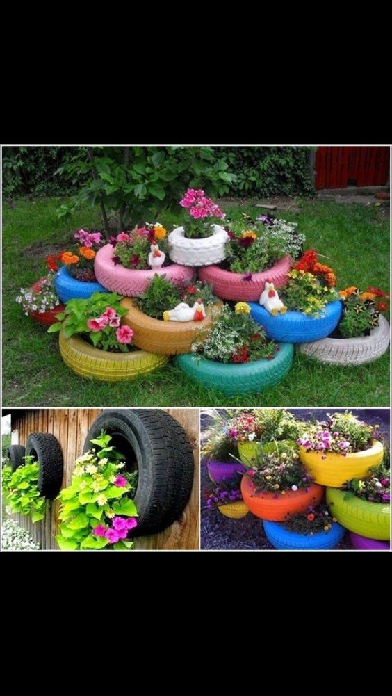 tires are always a cute idea to put little mini gardens in and can even paint them and stack them so cool