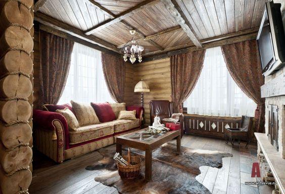 Фото интерьера гостиной небольшого дома | Дизайн интерьера дом из цельных бревен в стиле французского шале | #Interior #design #house of whole logs style French chalet