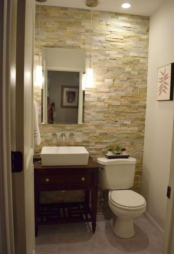 Guest Bathroom Ideas Half Bathroom Stone Wall Harptimes Com