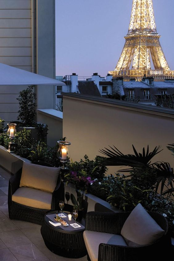 Paris terrace and french on pinterest for Terrace eiffel tower view room shangri la