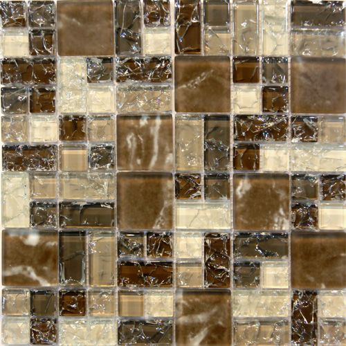 Brown Crackle Glass Mosaic Tile  in stock $17.5/SF