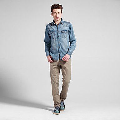 Men's Casual Straight-Leg Slim Relaxed Fit khaki Thinner Cotton Pants