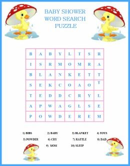 Free Printable Baby Shower Duck Theme Word Search Puzzle