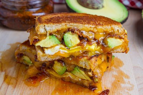 Bacon ham and Avocado Grilled Cheese Sandwich
