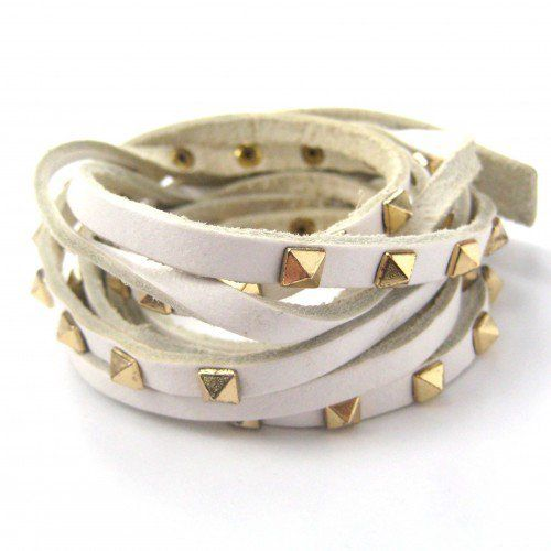 White Bracelet with Gold Studs