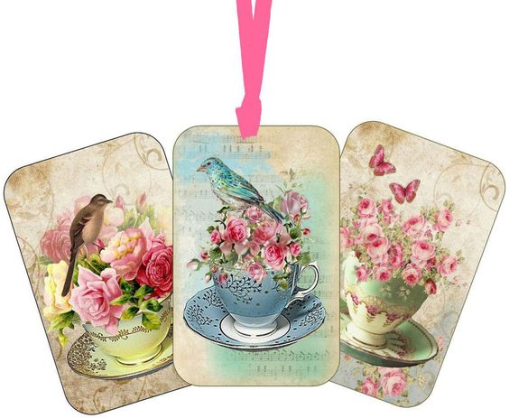 Vintage Tea Cup Flowers  Tags Scrapbooking Crafts Set 6 With Or Without Ribbon