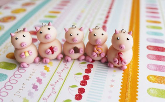 Katie Pig Charms Polymer Clay Pendant Lot 5 Candy by boriville, $20.00
