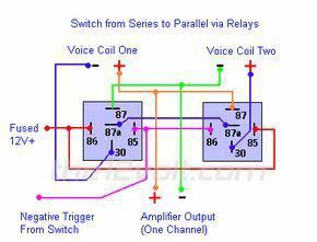Switching From Series To Parallel And Back Via Relays With Images Electronic Circuit Projects Automotive Electrical Relay