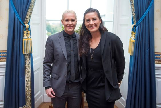 Ashlyn Harris and Ali Krieger  at the White House, Oct. 27, 2015. (U.S. Soccer)