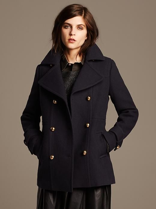 Banana Republic | Navy Wool Peacoat | Fashionably Fabulous