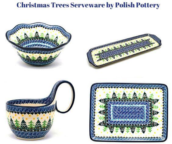 Christmas Tree Serveware by Polish Pottery