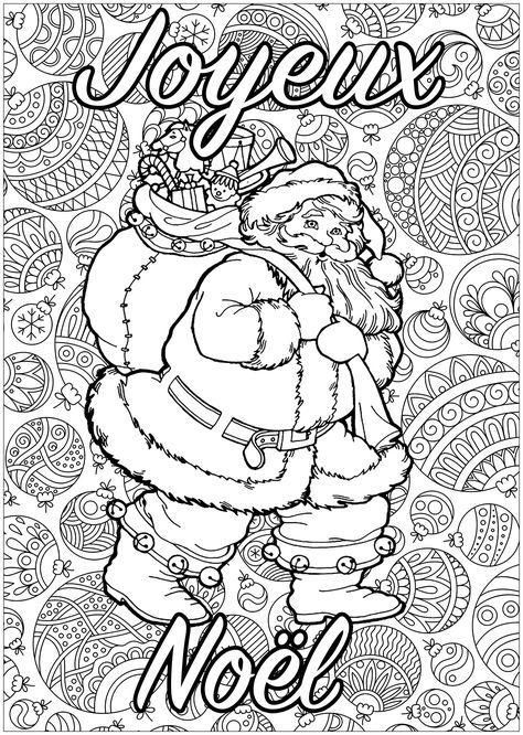 Père Noël à colorier, avec fond plein de motifs, et texte 'Joyeux