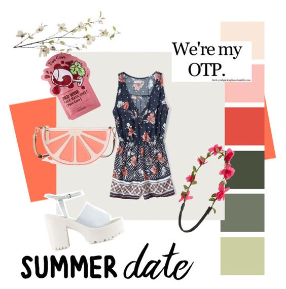 """""""Summer forever"""" by aanniee ❤ liked on Polyvore featuring Abercrombie & Fitch, Kate Spade, Capelli New York, Nly Shoes and Pier 1 Imports"""