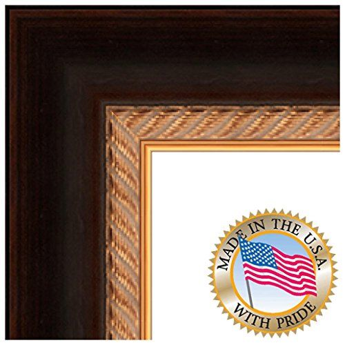 16x21 / 16 x 21 Picture Frame Dark Brown with Gold Rope .. 2.625 ...