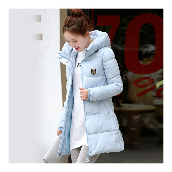 Super Long Down Coat Woman Thick Fashionable Thick water blue M