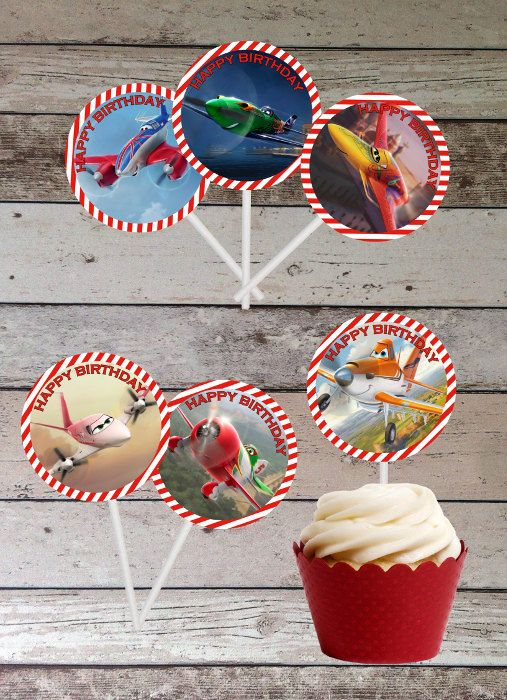 """Disney Planes 2"""" Circles for Cupcake Toppers - Digital File - Printable for Disney Planes Party Theme (Instant Download) on Etsy, $3.44"""
