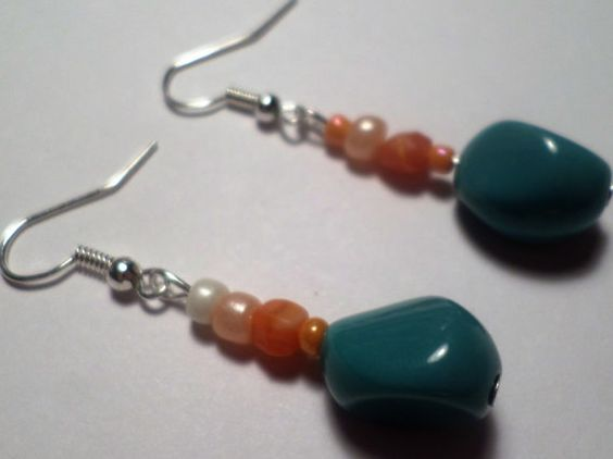 Orange and Teal Beaded Anklet and Earring by MandyPandyGiftShop