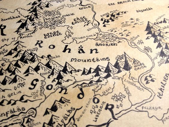lord of the rings the hobbit LOTR Gondor mordor Tolkien maps – Lord of the Rings Map of Middle Earth