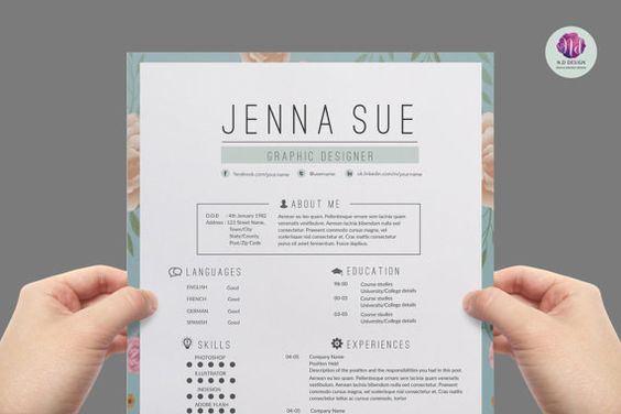 vintage cv template  cover letter template   reference