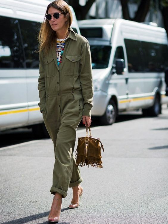Utility khaki overalls on the streets of Milan Fashion Week.