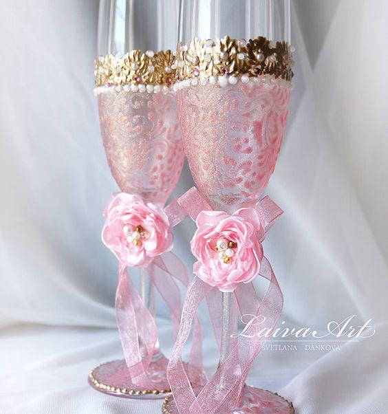 Rosa y oro boda champán gafas boda flautas de champán por LaivaArt