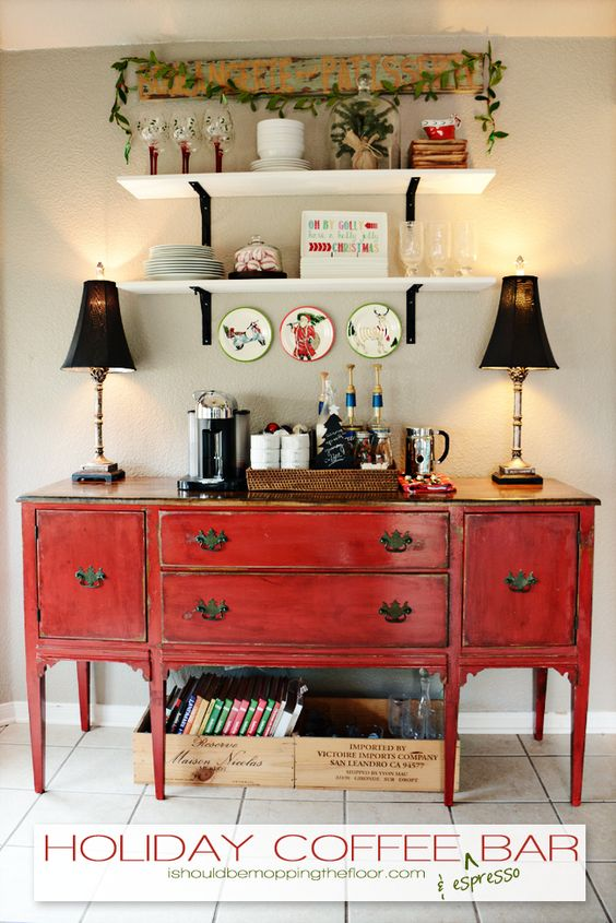 Holiday Coffee & Espresso Bar on a weathered red buffet