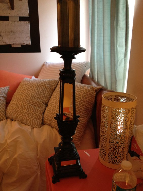 Black mirrored candle holder $35