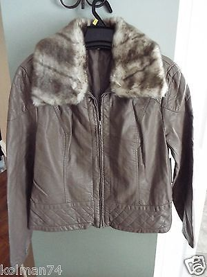 A N A Faux Leather Fur Jacket Removeable Faux Fur Collar Size XL New So Soft | eBay