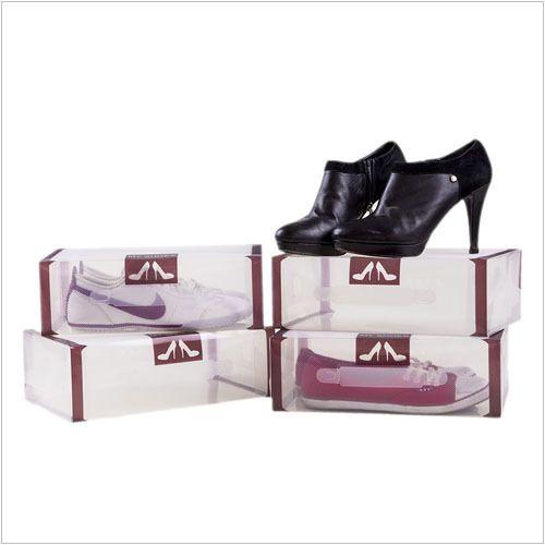 Przeźroczyste pudełka na buty 4 sztuki, brązowe - Dom i styl życia