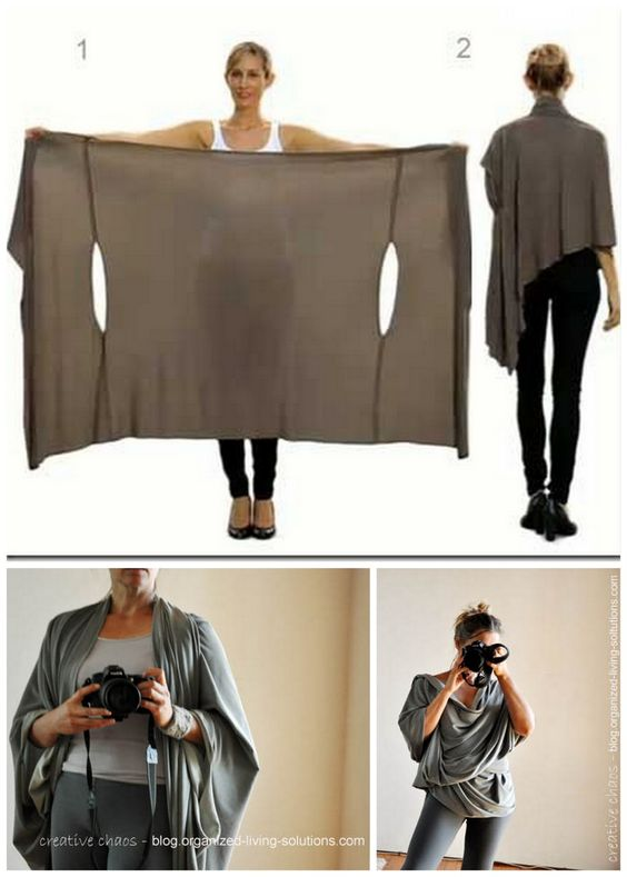 "GREAT for travel. DIY Two Tutorials for the Bina Brianca Wrap. It can be worn as a scarf, cardigan, poncho, blouse, shrug, stole, turtleneck, shoulder scarf, back wrap, tunic and headscarf. You can download the PDF ""how-to"" manual for all these styles from Bina Brianca here. Top Photo: Bina Brianca Wrap here, Bottom Photos: DIY Bina Brianca Wrap Tutorial by Organized Living Solutions here. Not pictured original tutorial for the wrap at The Craft Guild here."