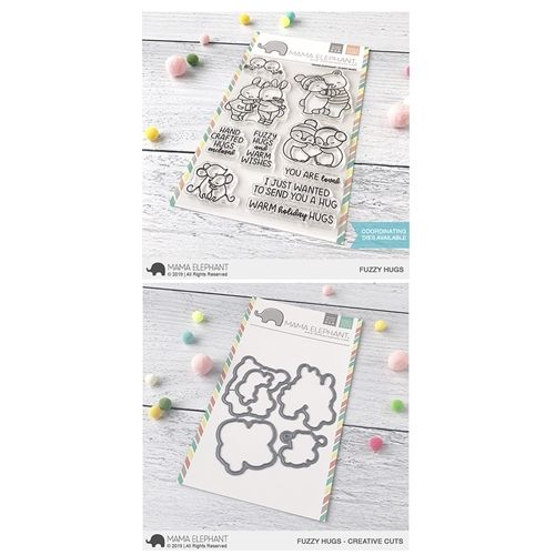 Mama Elephant Clear Stamp And Die Mept683 Fuzzy Hugs Set Mama Elephant Clear Stamps Snow Angels