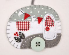 Felt christmas ornaments, handmade Irish cottages, Green and white patchwork…