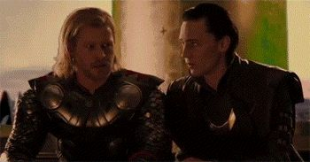Thor plotting mischief in response to Loki's mischief, while Loki counter-plots even more mischief to subvert Thor's mischief. Gif 5.4 MB