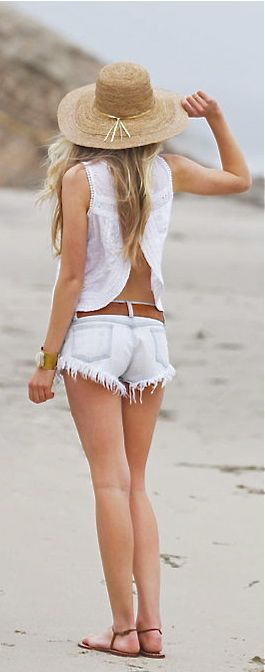 Beach +White top,denim shorts