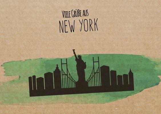Viele Grüße aus New York (Skyline) | Urlaubsgrüße | Echte Postkarten online…