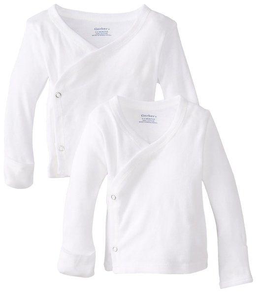 Gerber Unisex-Baby Newborn 2 Pack Long Sleeve Side Snap Mitten Cuffs Shirt, White, Newborn